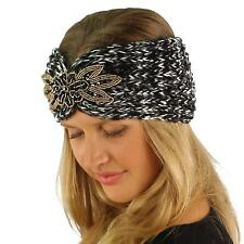 Winter Space Dye Floral Crystal Patch Knit Stretch Headwrap Headband Ski Black