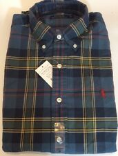 BNWT Mens Ralph Lauren Long Sleeve Blue Green Plaid Shirt Size S RRP £85.00