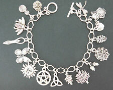 Wicca - Pagan - 16 charms bracelet - Bee - Goddess - Tree of Life - Pinecone