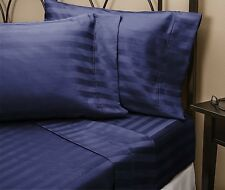 1500 Thread Count 100% Egyptian Cotton Bed Sheet Set 1500 TC QUEEN Navy Stripe