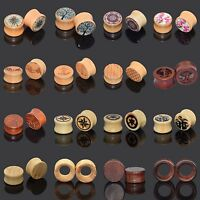 Ear Expander Hand-Carved Natural Bamboo Wood Double Flared Ear Tunnels Stretcher