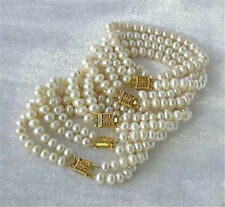 "New Wholesale 5PC 7-8mm White Akoya Cultured Pearl Bracelet 7.5"" AS+SQ+A+S"