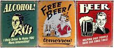 Home Bar Signs Decor - Funny Metal Drinking Alcohol Wall Display - Beer Gift Set
