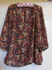 Banana Republic Black & Orange Floral Blouse Top Size S / 10 - 12 - like paisley