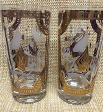 2 Mid Century Modern Fred Press Trojan Horse Glass Mad Men Style Tumblers