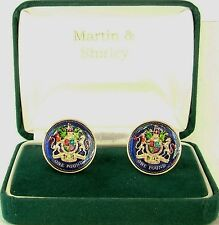 BRITISH  UK £1 Cufflinks made from real Coins Blue & Gold & Colours