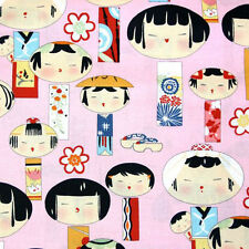 THREE YARDS-Yui Kokeshi Japanese Kawaii Japan Fabric Alexander Henry 6757A Pink