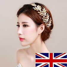 Gold Leaf Vintage Pearl Crystal Bridal Wedding Headband Hair Clip HA018-04