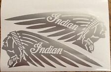 Indian Motorcycle Tank Decal Dark Horse Sticker SILVER Custom Made Left & Right