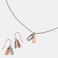 NWT NIB COACH Pave HANGTAG Charm Necklace & Earrings * Silver / Rosegold F56436