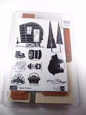 Stampin Up Happy Camper stamp set ~ Bear Trees Fire Hot Dog ~ Mounted, Not Inked
