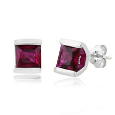 1.50 Carat Ruby Stud Earrings in Sterling Silver Bezel Setting