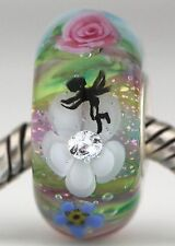 SPRING FAIRY GARDEN sterling silver core european charm bead lampwork glass MWR