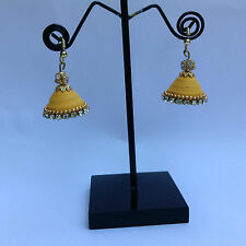 Cute Paper Quilling Ethnic Jhumka Earrings (Yellow)