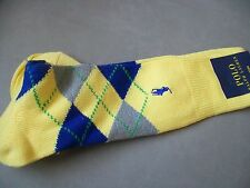 POLO RALPH LAUREN MENS SOCKS NWT ARGYLE COTTON BLEND YELLOW GRAY NAVY