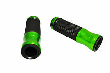 "Green Black Aluminium Rubber Motorbike Motorcycle Quad Hand Grips 22mm 7/8"" Bars"