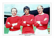 GEORGE BEST NOBBY STILES BOBBY CHARLTON MANCHESTER UNITED A4 PRINT PHOTO MAN UTD