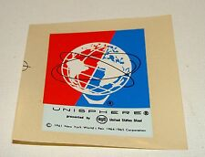 ORIG 1964 - 1965 NYWF UNUSED COLOR UNISPHERE LOGO - WATER SLIDE DECAL