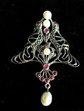 Sterling Silver French inspired stained Glass Ruby Marcasite Bird Brooch Pendant