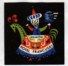 """KRAKOW (POLOGNE) HOTEL """"ORBIS FRANCUSKI"""" Etiquette"""