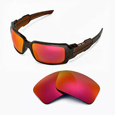 Walleva Polarized Fire Red Replacement Lenses For Oakley Oil Drum II Sunglasses