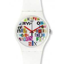 New Swatch Originals MULTI COLLAGE White Silicone Watch 41mm SUOW132 $75