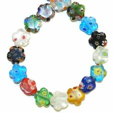 """G4316L2 Assorted Color 10mm Flat Flower Shaped Millefiori Glass Beads 14"""""""