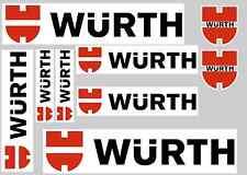 Wurth Pegatina Set-hoja de 9 Pegatinas-Calcomanías