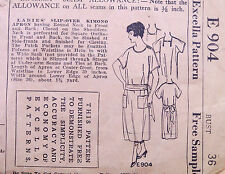 Vintage Excella Apron Pattern 1920's - 30's E904 Bust 36 Missing Pocket Piece
