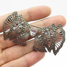 Vtg 925 Sterling Silver Real Marcasite Gemstone C Z Large Bow Pin Brooch