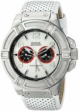 BRAND NEW GUESS U0451G1 RIGOR CHRONOGRAPH SILVER CASE WHITE LEATHER MEN'S WATCH