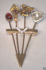 14K GOLD CUSTOM MADE PIN WITH 4 ANTIQUE STICKPINS GRIFFIN DIAMOND AMETHYST AMBER