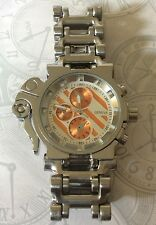 JUMBO BIG FACE SILVER MEN'S WATCH BIKER CHAIN BRACELET HEAVY DUTY NEW STYLE!