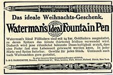 Waterman's Fountain Pen Ideal Füllfedern Historische Annonce 1913