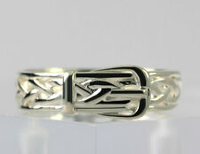 Sterling Silver Woven Braided Belt Buckle Band Fashion Ring Size 7.75