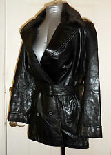 New ANDREW MARC Black SOFT LEATHER JACKET DETACHABLE FUR COLLAR BELTED COAT SZ S
