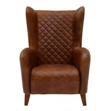 "30"" Aviator Back Leather Chair Stitched Distressed Leather Brown"