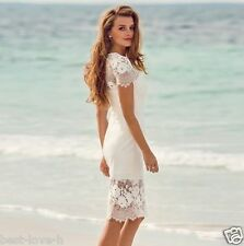 2016 New Short Wedding Dresses Beach Lace Bridal Gowns 4 6 8 10 12 14 16 18+++