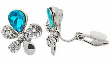 CLIP ON Earrings Ladies Studs Silver Plated Crystal Flower Turquoise Womens Girl