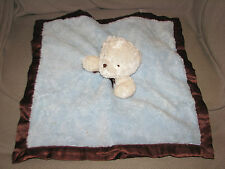 CARTERS BLUE BROWN WHITE TEDDY BEAR BABY SECURITY BLANKET LOVEY RATTLE SATIN