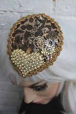 TEAR DROP CHAIN MAIL GOLD LEOPARD STEAM PUNK FACINATOR HAT RACES BRIDAL WEDDING