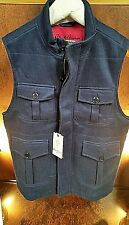 NWT ROBERT GRAHAM SYED WOVEN CASHMERE VEST Mens (MED)  NAVY BLUE !!SENSATIONAL!!