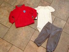 NWT Carter's 3 pc Outfit Fleece Red Firetruck Gray JAcket Pants Romper 6 months
