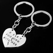Silver Best Friend Best Bitches Charm Pendant Keyring Keyfob Keychain Girls Gift