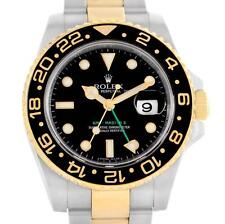 Rolex GMT Master II Yellow Gold Steel Black Dial Mens Watch 116713