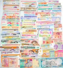 102 Different world paper money collection, UNC, new banknotes. Ultra-low-cost