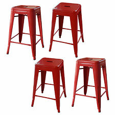 AmeriHome BS24REDSET Loft Red 24 Inch Metal Bar Stool - 4 Piece