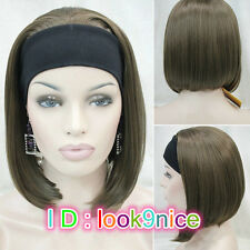 Ladies Cute Short BOB 3/4 wig with headband Brown mix straight half wigs