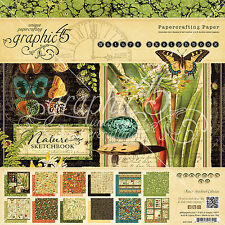 Graphic45 NATURE SKETCHBOOK 8x8 PAPER PAD scrapbooking (24) SHEETS (12) DESIGNS