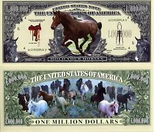 A VOIR! CHEVAUX BILLET de COLLECTION MILLION DOLLAR US ! Equitation Cheval Poney